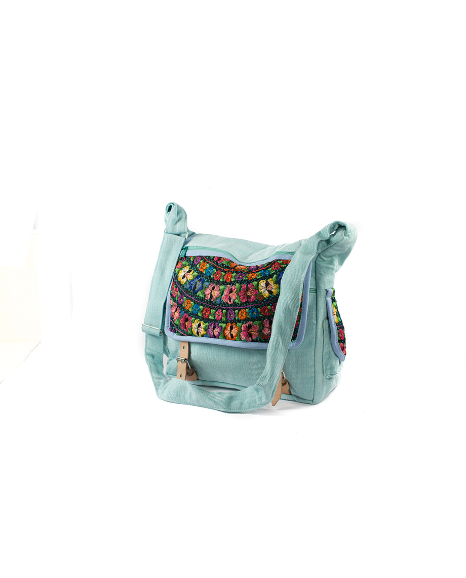 3a6bfb65be9 Home / Mode / Tassen / Tas Mayablouse Leren Gespen L. Blauw Bohemian Fair  Trade